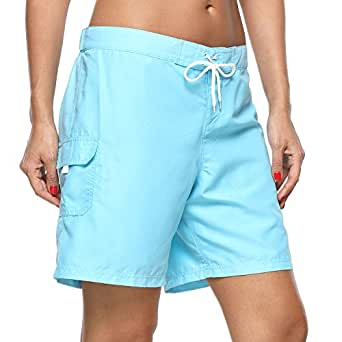 Vegatos Women's Solid Stretch Board Shorts Swimwear Quick Dry Swim Shorts Swimsuit Bottom Blue