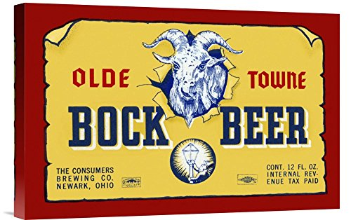 Global Gallery Budget GCS-375097-22-142 Vintage Booze Labels Olde Towne Bock Beer Gallery Wrap Giclee on Canvas Wall Art Print