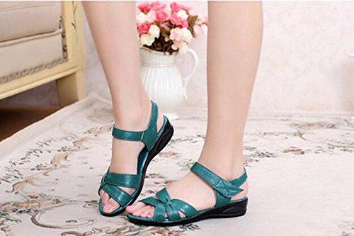 Zormey Plus Size (32-43) Apartamento Sandalias De Verano 2016 Para La Mujer Madre Enfermera Cuero Genuino Zapatos Zapatos Zapatos De Maternidad Las Mujeres Sandalia Plana 4