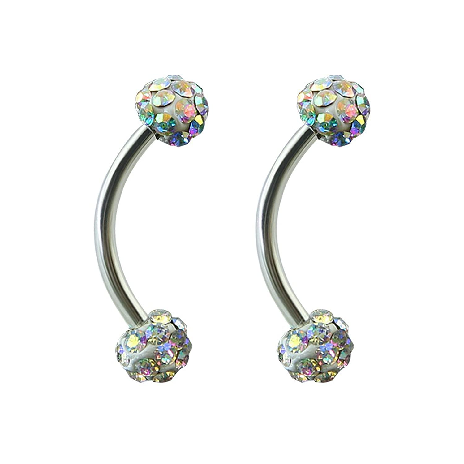 Amazon 16g Tiny 4mm Crystal Ball Curved Barbell Eyebrow Ring