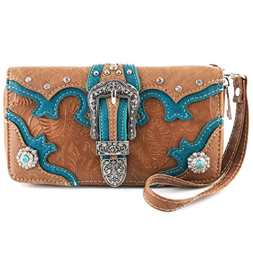 Tan Tooled - Justin West Tooled Western Leather Turquoise Concho Rhinestone Buckle Studded Shoulder Concealed Carry Handbag Purse (Tan Wallet)