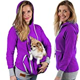 Roodie Pet Pouch Hoodie – Cat Dog Holder Cuddle Sweatshirt – Large Kangaroo Carrier Pocket – No Ears Paws – Womens Fit (Purple, XXXX-Large)