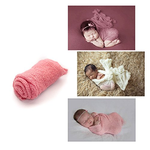Newborn Photography Prop Stretch Wraps, DIY Infant Photos, Baby Photo Blanket Prop, Multiple Colors for boys and girls by Lakeson & Co. (Tickled Pink)