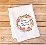 you dish set - Kitchen Dish Towel - Bloom Where You Are Planted - Wild Rose Wreath and Feathers