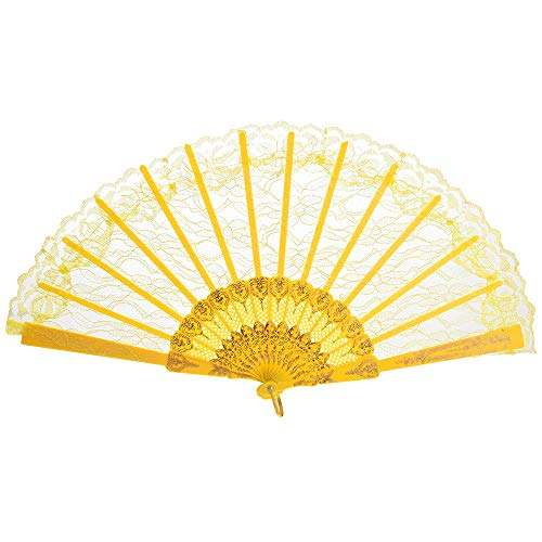 Elegant Lace Women Hand Held Folding Fans with Bamboo Frame - Chinese Japanese Vintage Retro Style Sexy Lace Flowers Design Plastic Folding Hand Held Fan for Wedding Dancing Church Party Gifts (D) -