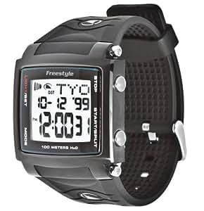 Freestyle Cory Lopex Signature - Reloj digital de caballero de cuarzo con correa de goma negra (alarma, cuenta vueltas, luz, cronómetro)