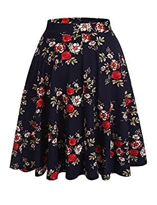 Hotouch Floral Printed Flare Pleated Skater Skirt for Women with Plus Size Navy S