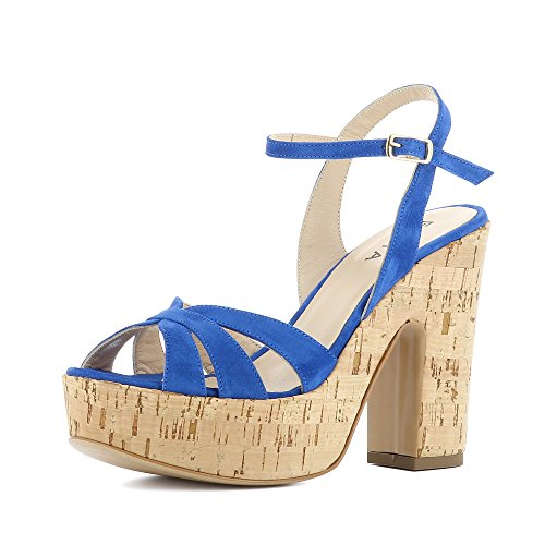 Evita Schoenen Luna Vrouwen Sandalette Suede Blauw