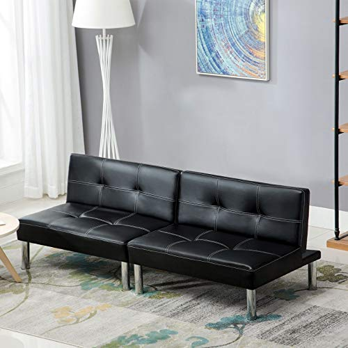 vertible Futon Sofa Bed, Detachable Sofa Sleeper/Recliner Couch, Back Adjustable, Black ()