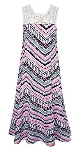 Smukke, Big Girls Tween Vintage Lace Geo Print Maxi Dresses (Many Options), 7-16 (Black Multi, -
