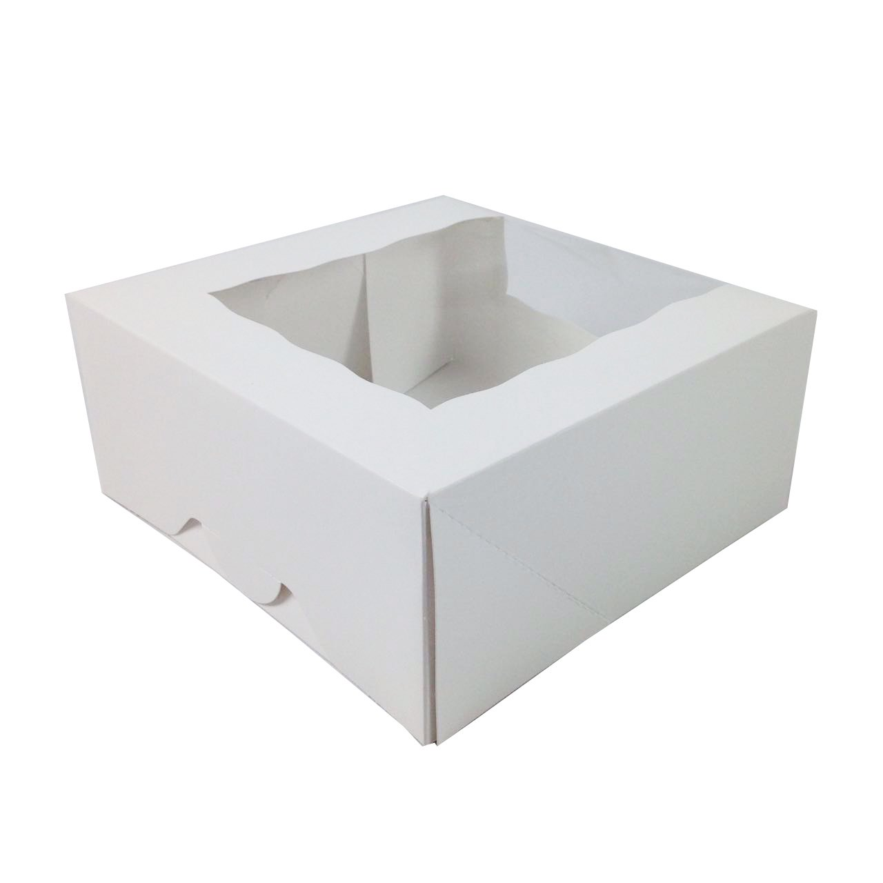 Black Cat Avenue 9'' x 9'' x 4'' White Pie Window Boxes For Cake Pastry Bakery Baked Goods Boxes, 5 Count