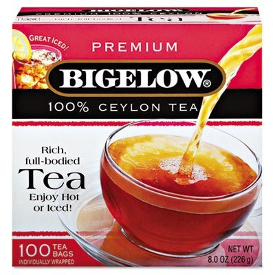 Bigelow Tea Company Products - Ceylon Black Tea, Individual Wrapped, 100/BX - Sold as 1 BX - Premium blend tea is 100 percent Ceylon Black Tea. Blend is made with the highest quality Orange Pekoe and Pekoe Cut Black Tea. Tea comes in individually paper wrapped tea bags. by Bigelow Tea