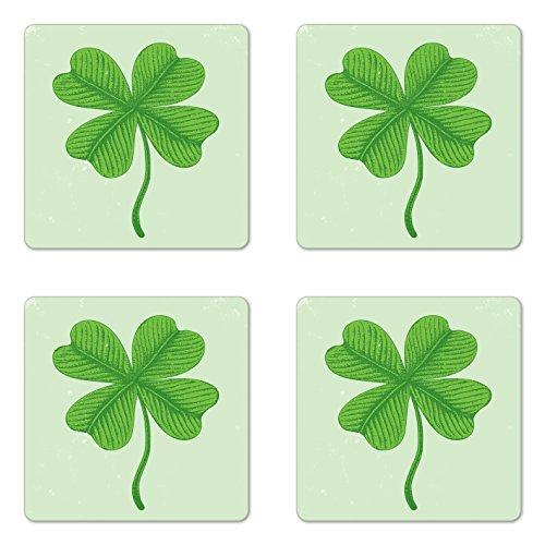 Lunarable Shamrock Coaster Set of 4, Grunge Effect with 4 Leaf Lucky Celtic Clover Irish Folklore Motif, Square Hardboard Gloss Coasters, Standard Size, Pale Green