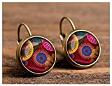 Darkey Wang Women's Fashion Personality Retro Lattice Time Gem Earrings