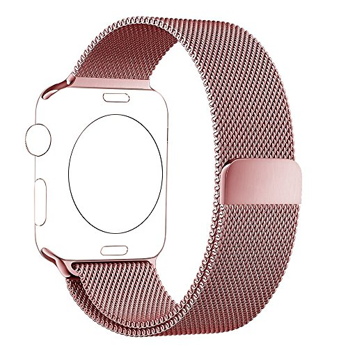 BRG Apple Watch Band Milanese Loop Stainless Steel Bracelet Strap Replacement Wrist Iwatch Band with Magnet Lock for Apple Watch, Original Rose Gold, 42mm
