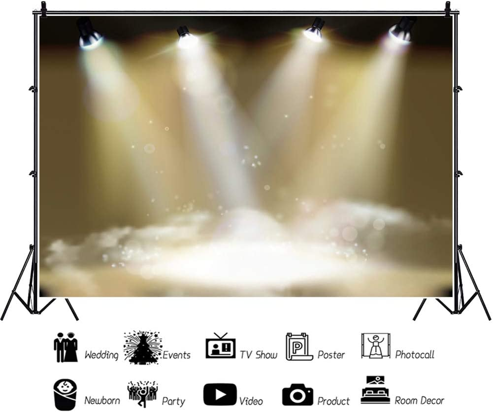 YEELE 12x8ft Dreamy Stage Backdrop Stage Lights with Colored Spotlight and Smoke Photography Background Birthday Party Dance Show Kids Adults Acting Show Portrait Photobooth Props Digital Wallpaper