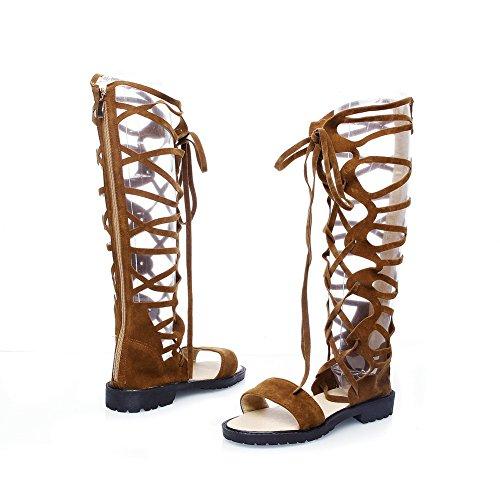 Brown Hiking AdeeSu Urethane Solid Pleated Boots SLC04233 Womens wFFxg4Tq0