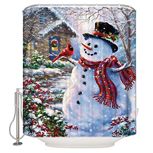 CHARMHOME 66X72 inches Inches Winter Holiday Merry Christmas Happy Snowman and Cardinals Shower Curtain New Waterproof Polyester Fabric Bath Curtain (Shower Rings Included)