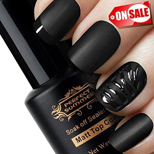 Perfect Summer Matte Top Coat Gel Nail Polish - UV LED Soak Off Top Coat, Home Gel Manicure Salon Polish, Clear Color 8ml (Matte Coat)