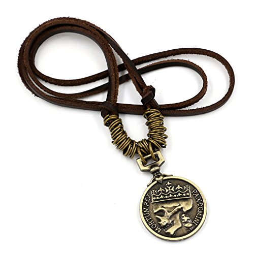 Pirate Skull Cameo Necklace (PopJ Classic Coin Brown Leather Necklace Skull Cameo Chunky Pendant (Gold))
