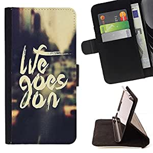 Momo Phone Case / Flip Funda de Cuero Case Cover - Life Goes On Vintage Vignette Taxi Cab - Sony Xperia Z5 Compact Z5 Mini (Not for Normal Z5)