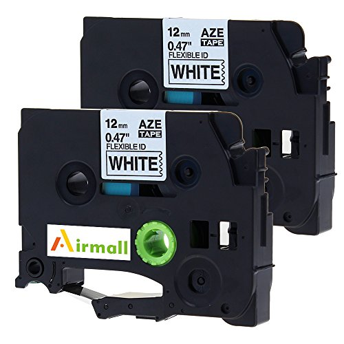 Airmall 2 Pack 12mm Black on White Compatible Brother TZe Flexible Tape Cartridge TZeFX231 TZe-FX231 for P-Touch Label Printers PTD210 PT200 (Halloween 1880)