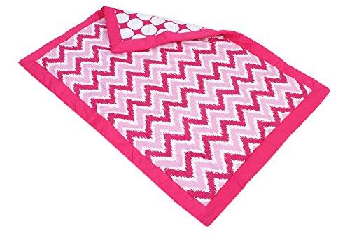 Bacati Mix and Match Zigzag/Large Dots Ikat Crib Comforter, Pink