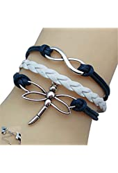 JQUEEN Cute Silver Dragonfly Infinity Charms Braided Leather Rope Wrap Around Bracelet