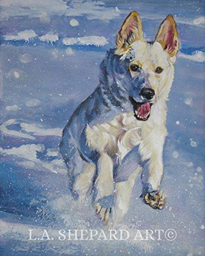 (A German Shepherd dog art portrait print of an LA Shepard painting 8x10