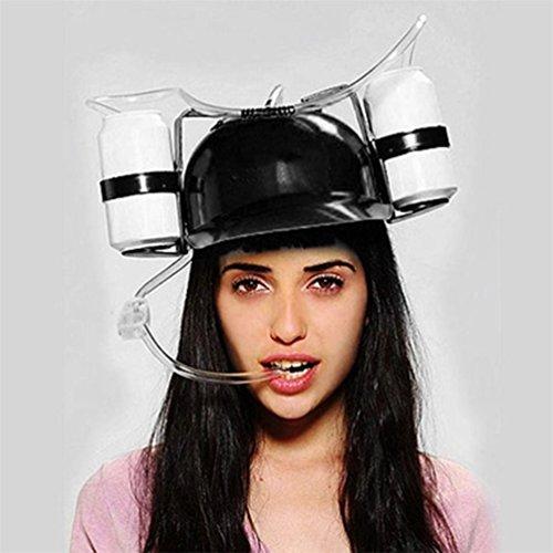 GohEunGyung shop Beer Soda Drinks Guzzler Helmet & Drinking Hat Straw Hat Black - Party Hat LE