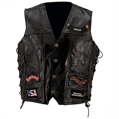 Diamond Plate Rock Design Genuine Buffalo Leather Vest- 6x Diamond Plate Mens Vest
