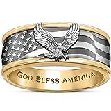 Ring: Stainless Steel Freedom Soars Men's Spinning Ring: 8