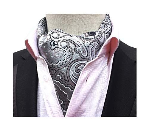 (Men's Floral Paisley Jacquard Woven Self Cravat Tie Teens Unique Silver Prom Ascot)