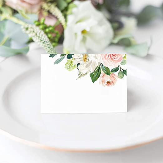 Editable Place Card Template Charlotte Place Card with meal icons Floral Watercolor Table Card Name Card Tent Card Wedding Place Cards