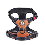 PoyPet No Pull Dog Harness, No Choke Front Lead Dog Reflective Harness, Adjustable Soft Padded Pet Vest with Easy Control Handle for Small to Large Dogs(Orange,M)