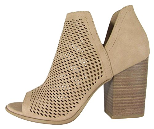 Cambridge Select Women's Open Toe Perforated Caged Laser Cutout Chunky Stacked Block Heel Ankle Bootie,7 B(M) US,Natural Nbpu