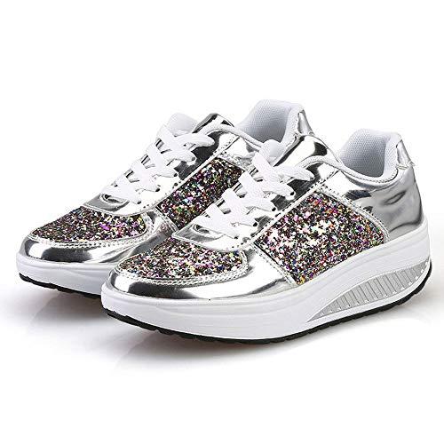 All'aperto Eleganti Da Soft Spesso Zeppa scarpe Shoes Silver Sportive Casual Scarpe Ragazzo Corsa Bazhahei Sneakers Traspirante Con Fondo Paillettes Donna CUq01