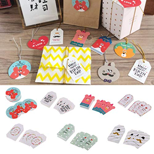 Fityle 50pcs Kraft Dangle Tags Birthday Package Labels Colorful Bookmarks Home Decoration Wedding Decoration Party Adorn Proposal Embellishment Tags happy happy birthday 6.3x3.6cm
