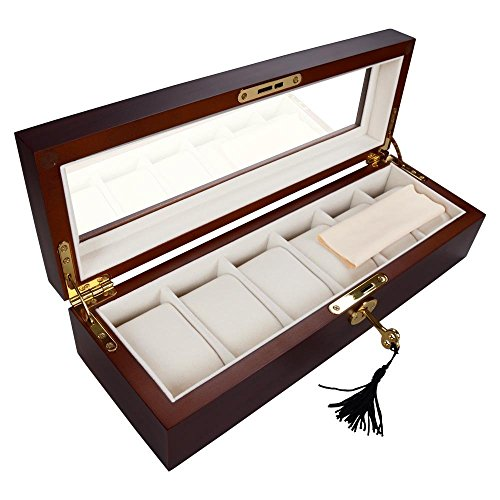 AMPERSAND SHOPS Rosewood Matte Stain Glass Top Wooden 6-Watch Display Case