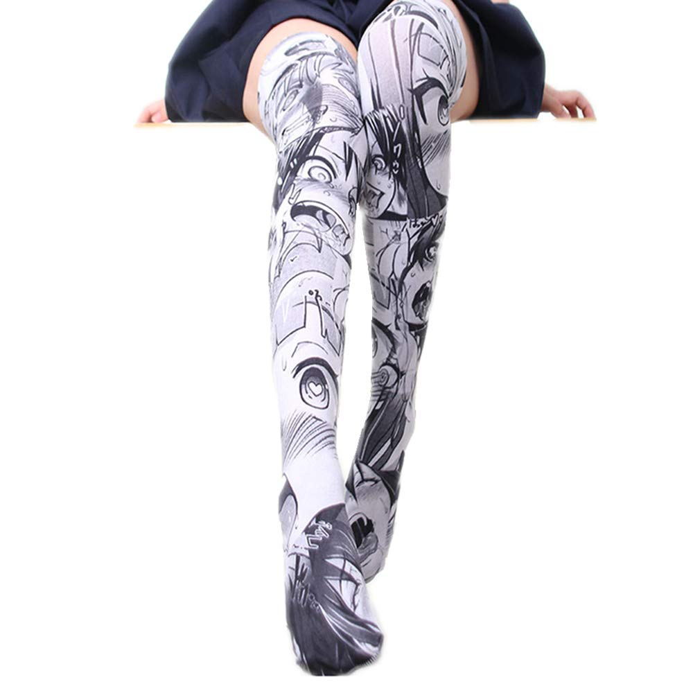 25b5f4103f1 Amazon.com  YOMORIO Cute Anime Knee High Socks Lolita Manga Cartoon Long  Stockings Cosplay Tight High Socks  Clothing