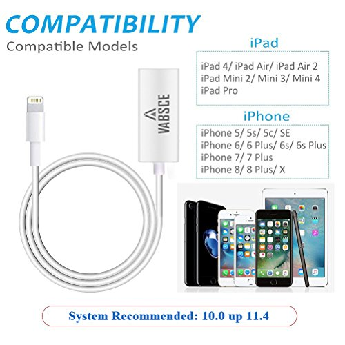 Lightning to RJ45 Ethernet LAN Wired Network Adapter, iPhone Ethernet Adapter, Fast Charging Lightning to RJ45 Ethernet Converter with Lightning Female Interface Charge Cable for iPhone/iPad by VABSCE (Image #4)