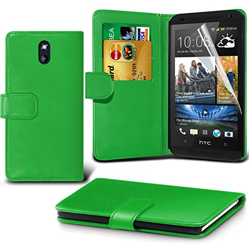 Fone-Case ( Green ) HTC Desire 610 Faux Stylish PU Leather Wallet Credit / Debit Card Flip Case Skin Cover With Screen Protector Guard