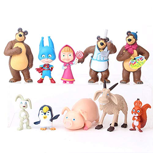Masha and The Bear Playset 10 Pcs Figures Doll Toys Cake Toppers Party Supplies Birthday Decorations + Bonus Assorted Stickers -