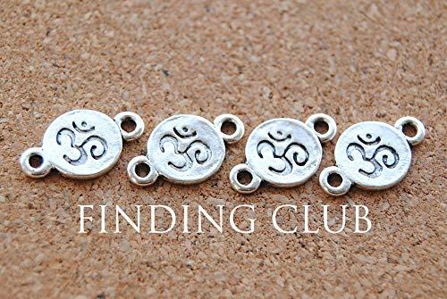 Laliva Accessories - 50 pcs Antique Silver OM Aum Ohm Mantra Sign Disc Charm DIY Metal Bracelet Necklace Jewelry Findings A910