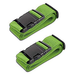 HeroFiber Lime Green Luggage Belts Suitcase Straps Adjustable and Durable, Name Card, Travel Case Accessories, 2 Pack