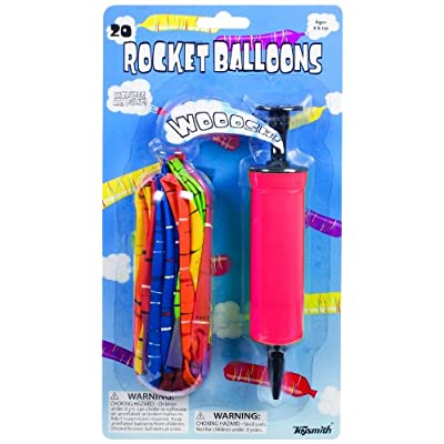 20 Rocket Balloons with Pump,(Colors May Vary),Various Packaging.: Toys & Games