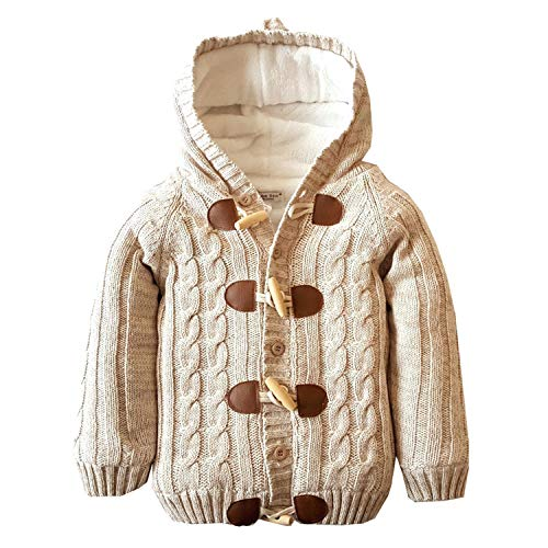 Baby Toddler Boys Girls Striped Long Sleeve Sweaters Cardigan Warm Outerwear Jacket Khaki Cashmere Blend 3 Button