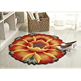 Luk Oil Sunflower Round Rug Mats Flowers Round Rugs Yellow Flowers Round the Bedroom Carpet 35.43-inch By 35.43-inch (Orange)