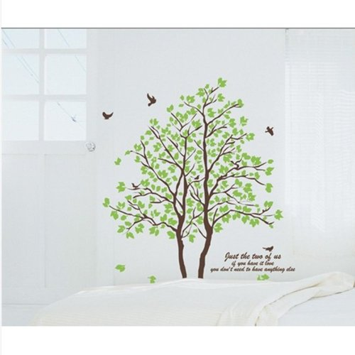 Cukudy DIY Large Wall Quote Decor Art Deusal Sticker Removable Green Tree Leaves Birds