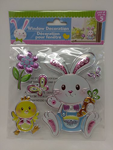 Happy Easter Stickers Window Decor Decoration Autocollants Bunny